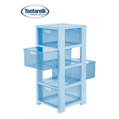 Cajonera multiusos 4 cajones 2 aperturas azul