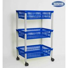 Carrito multiusos 3 cestos con ruedas azul