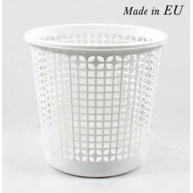 Papelera de plástico blanca