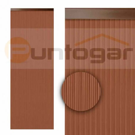 Cortina pvc 0,90 x 2,10 m cintas estriadas marrón económica