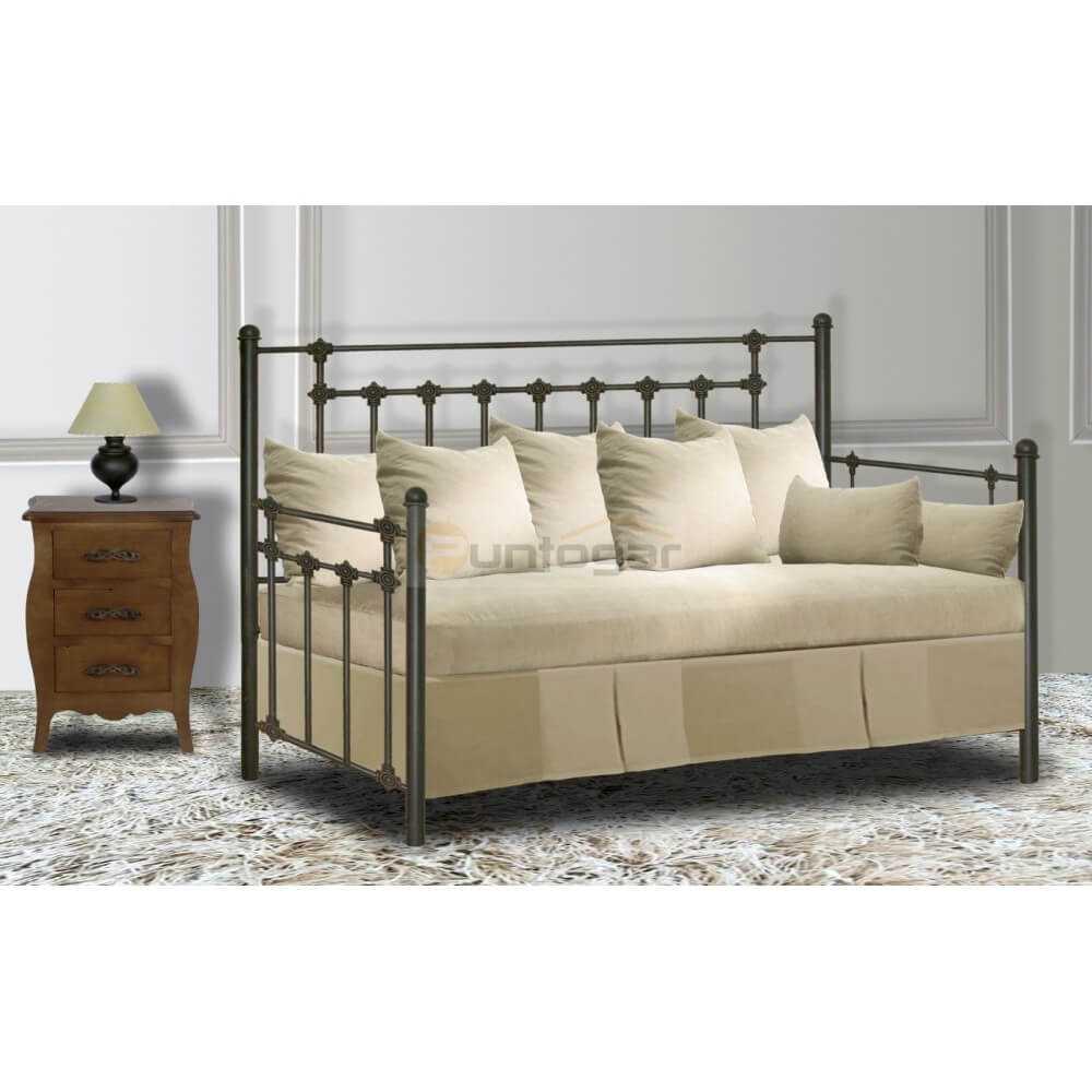 Fldp cama sof de forja modelo perla puntogar for Mueble tipo divan