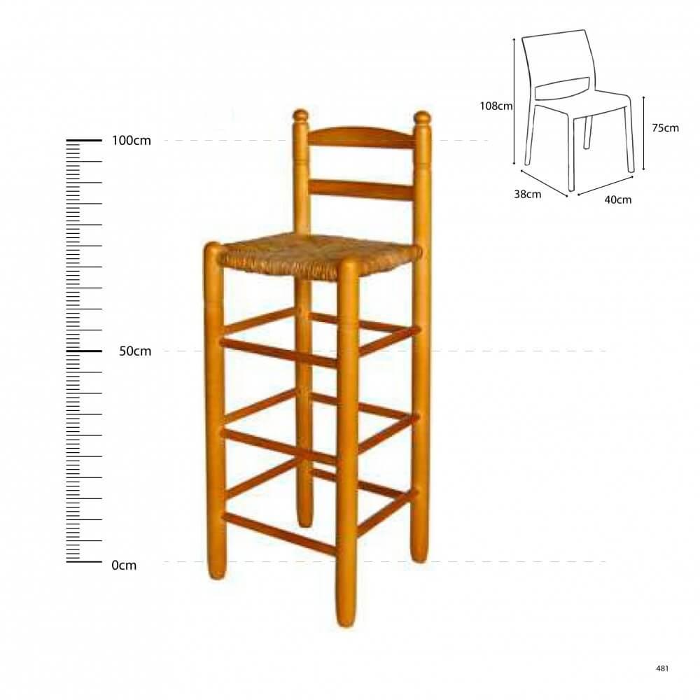 Comprar taburete cuadrado respaldo madera chopo anea enea - Taburete madera bar ...