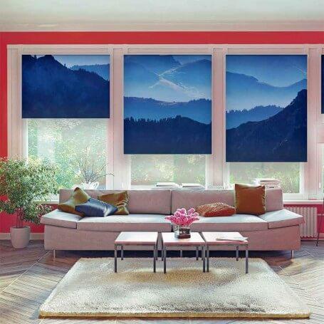 Azul-paisaje-cumbres-estores-impresión digital-personalizado-a-medida
