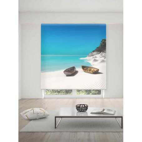 Playa Estor translúcido estampado digital paisajes de medidas estándar
