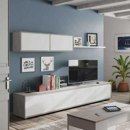 Mueble salón TV modelo Silver cemento blanco