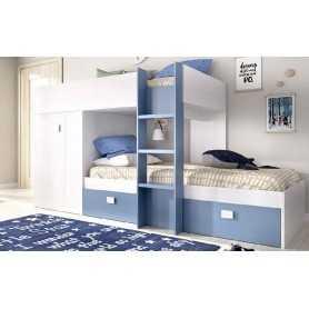 Cama litera juvenil dreams color blanco y azul