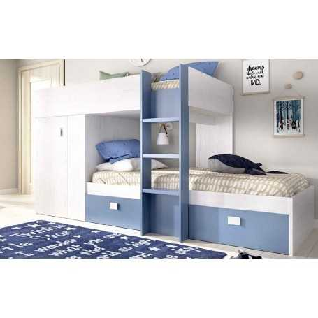 Cama litera juvenil dreams color blanco y azul