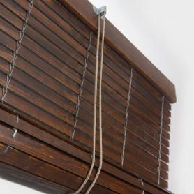 Persiana de madera nogal barnizado para interior con polea mirador