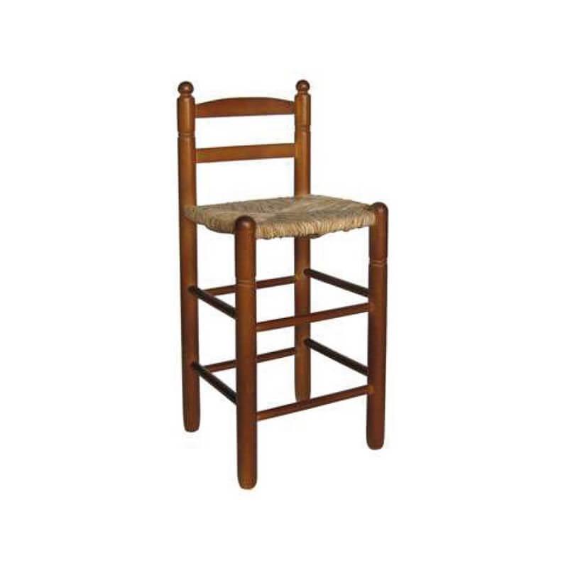 Taburete cuadrado chopo madera asiento anea-enea
