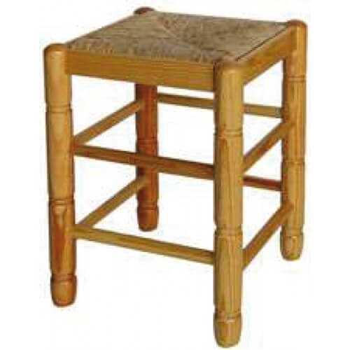 Taburete cuadrado asiento puesto madera anea-enea