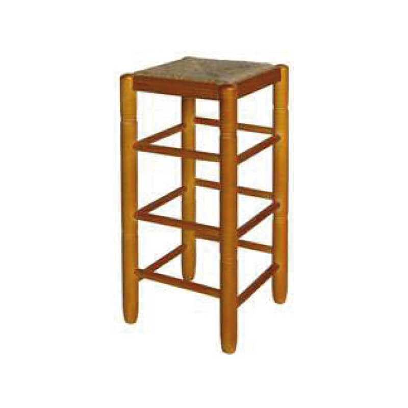 Taburete cuadrado alto asiento puesto madera anea-enea
