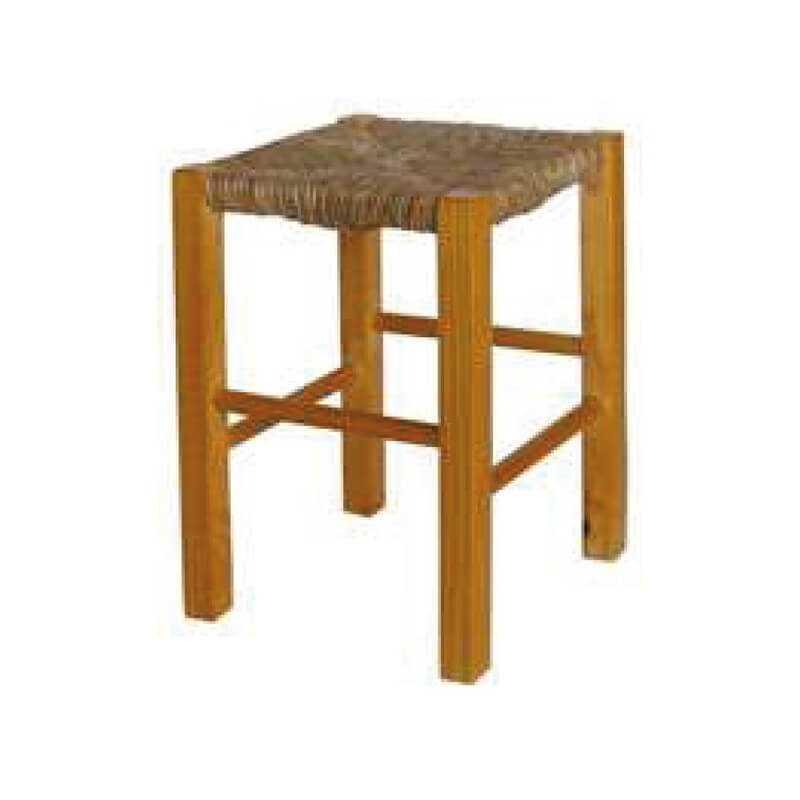Taburete barra cuadrada asiento puesto madera anea-enea