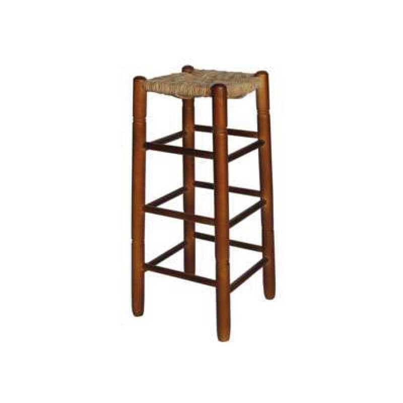 TMCE - 450 Taburete madera chopo asiento cuadrado y de enea 37-47-60 puntogar