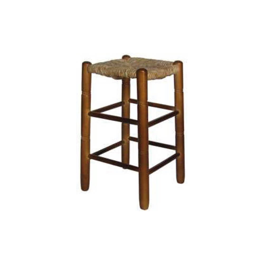 Scca taburete cuadrado madera chopo asiento anea enea - Taburete de madera ...