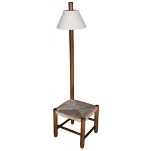 Taburete lámpara madera