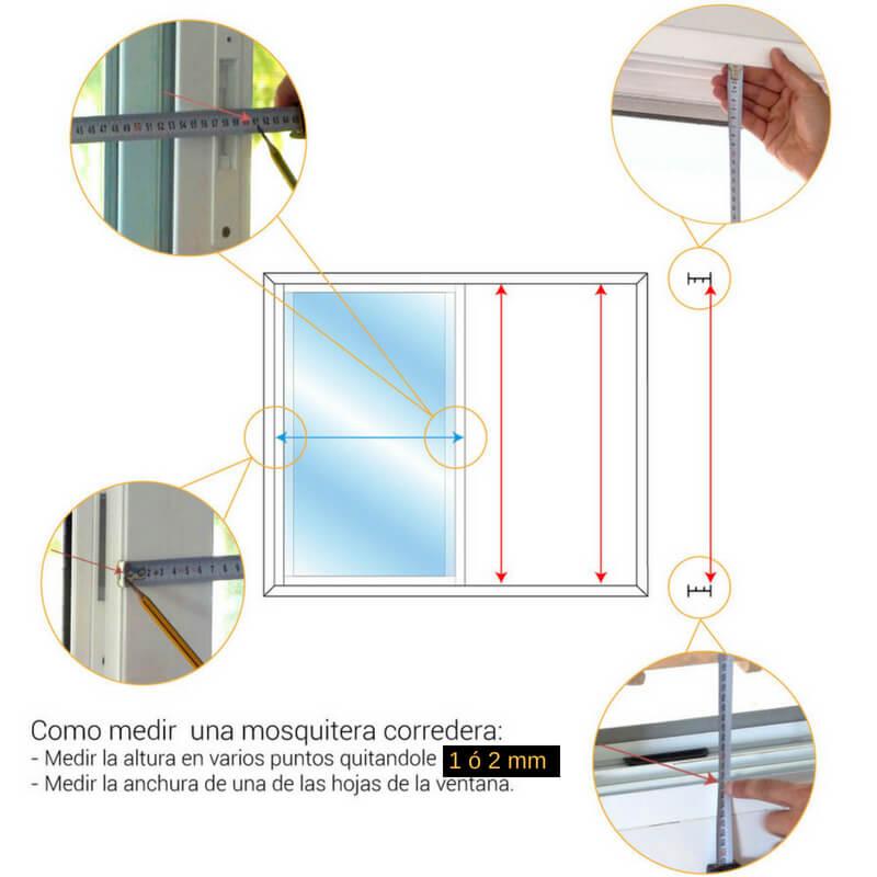 Cómo medir el alto del hueco de luz de la ventana para pedir una mosquitera corredera