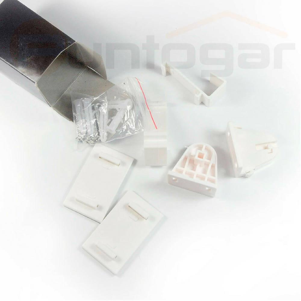 Detalle pack accesorios soporte sujeción estor fácil fijación